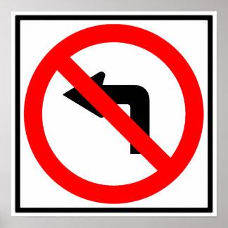 No Left Turn Highway Sign