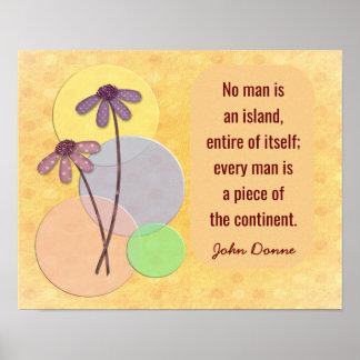 No Man An Island - John Donne quote print