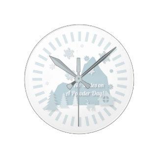 """""""No Mates on a Powder Day!"""" Clock"""