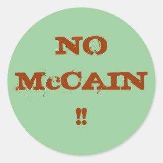 NO McCAIN !! Round Sticker