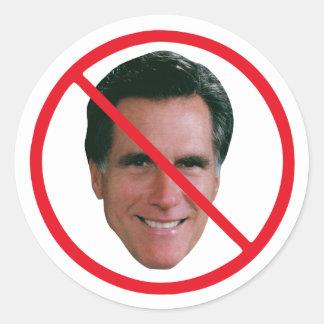 No Mitt Romney Classic Round Sticker