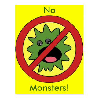 No Monsters Sign Postcard