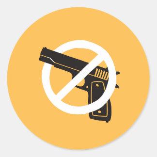 No More Guns (stickers - yellow) Classic Round Sticker