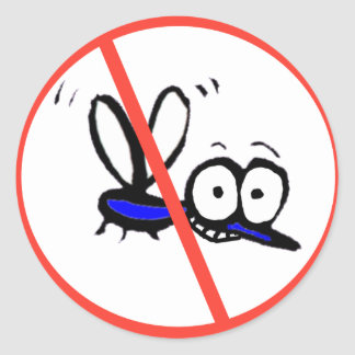 no mosquito funny cartoon design round sticker