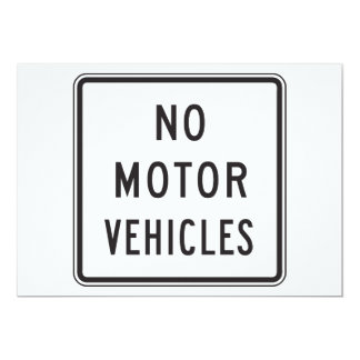 No Motor Vehicles Road Sign Invitations