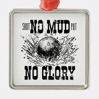 no mud no glory Silver-Colored square ornament