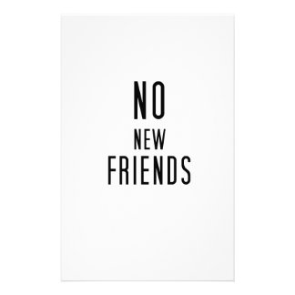 No New Friends Stationery