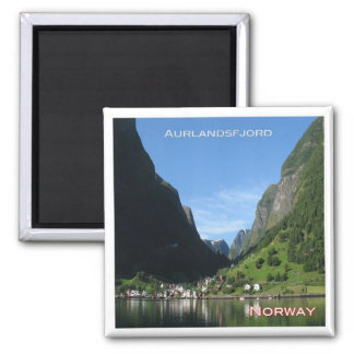 NO # Norway Aurlandsfjord Undredal seen from boat Square Magnet
