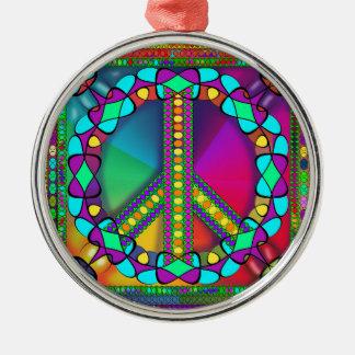 no nuke zone colored metal ornament