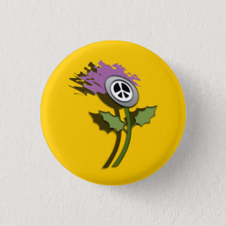 No Nukes Scottish Thistle Cartoon Pinback 1 Inch Round Button