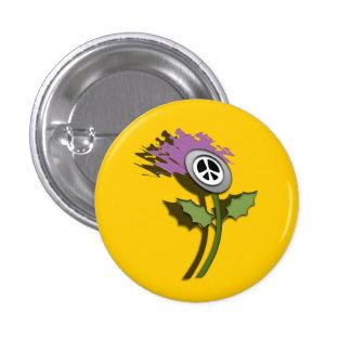 No Nukes Scottish Thistle Cartoon Pinback 1 Inch Round Button