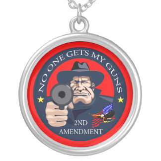 No One Gets My Guns 1 Silver Plated Necklace