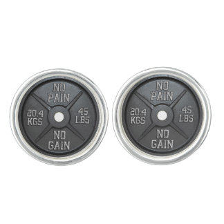 No Pain No Gain - Barbell Plate Cufflink Cufflinks