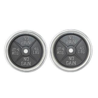 No Pain No Gain - Barbell Plate Cufflink Cufflinks