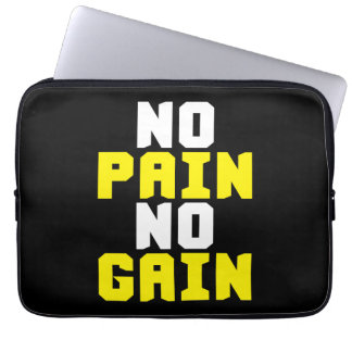 No Pain, No Gain - Gym Workout Motivational Laptop Sleeve