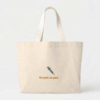no pain no gain large tote bag