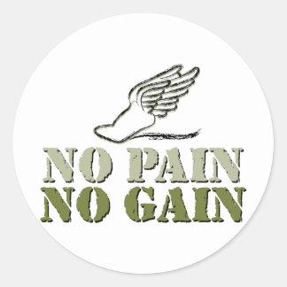 No Pain No Gain - Running Round Sticker