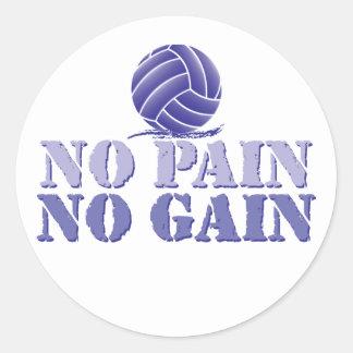 No Pain No Gain Volleyball Classic Round Sticker