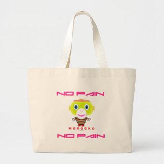No Pain No Pain-Cute Monkey-Morocko Large Tote Bag