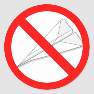 No Paper Airplanes Classic Round Sticker