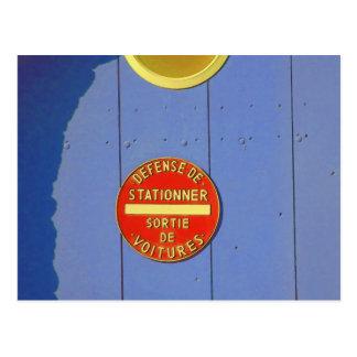 No Parking French Sign Blue Garage Door Postcard