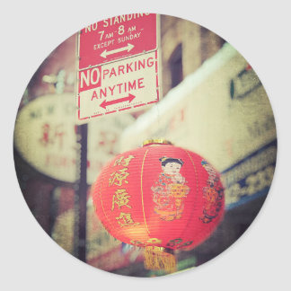 No Parking Grungy Chinese Lantern in Chinatown NYC Round Stickers