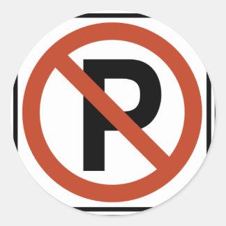 No Parking sign Classic Round Sticker