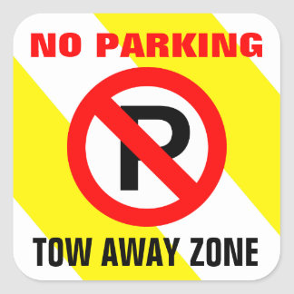No Parking Yellow White Stripes Sign Square Sticker