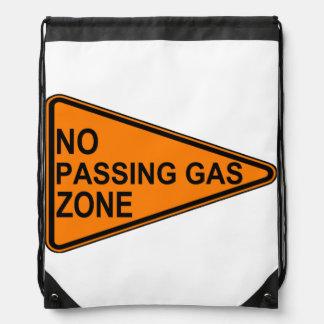 No Passing Gas Road Sign Drawstring Bag