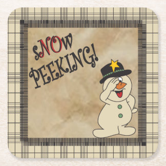 No Peeking Snowman Square Paper Coaster