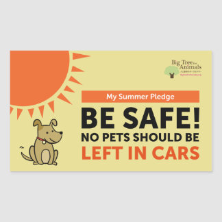 No Pets Should Be Left In Cars - My Summer Pledge Sticker