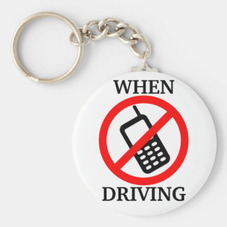 No Phone When Driving Basic Round Button Keychain