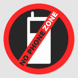 """No Phone Zone"" Round Sticker"