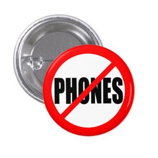 """""""NO PHONES"""" 1 INCH ROUND BUTTON"""
