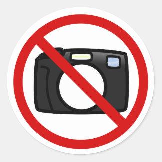 No photography, no cameras round sticker
