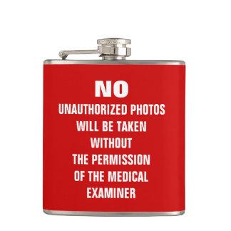 No Photos Autopsy Room Sign Hip Flask