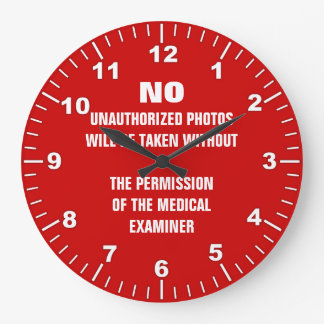 No Photos Autopsy Room Sign Large Clock
