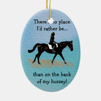 No Place I'd Rather Be - Equestrian Horse Ceramic Oval Ornament