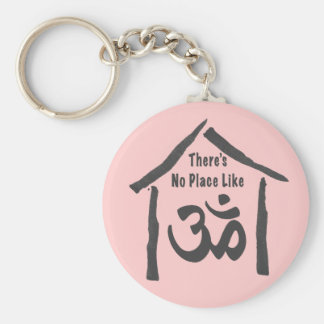 No Place Like Om Calligraphy Basic Round Button Keychain