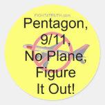 No Plane, 9/11, Pentagon, Figure It Out Round Sticker