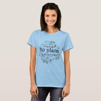 No Plans Floral Feminie T Shirt - Script