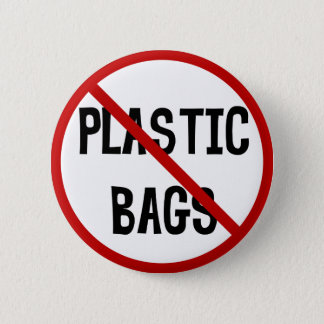 No Plastic Bags Button