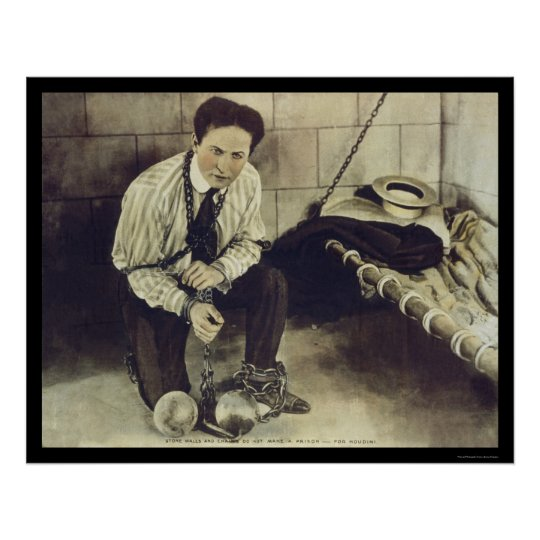 No Prison Can Hold Harry Houdini 1898 Poster
