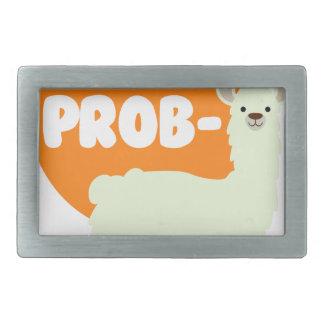 No Prob-Llama - The No Problem Llama - Funny Rectangular Belt Buckle