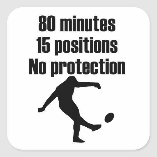 No Protection Rugby Square Sticker