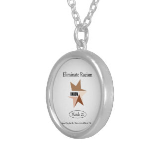 No Racism- Graphic showing unity Silver Plated Necklace