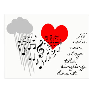 No rain can stop the singing heart funny postcard