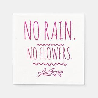 No Rain No Flowers Motivational Glitter Quote Disposable Napkins