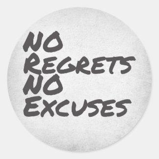 No Regrets Classic Round Sticker