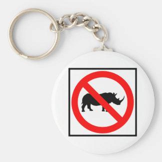 No Rhinoceros Highway Sign Keychain